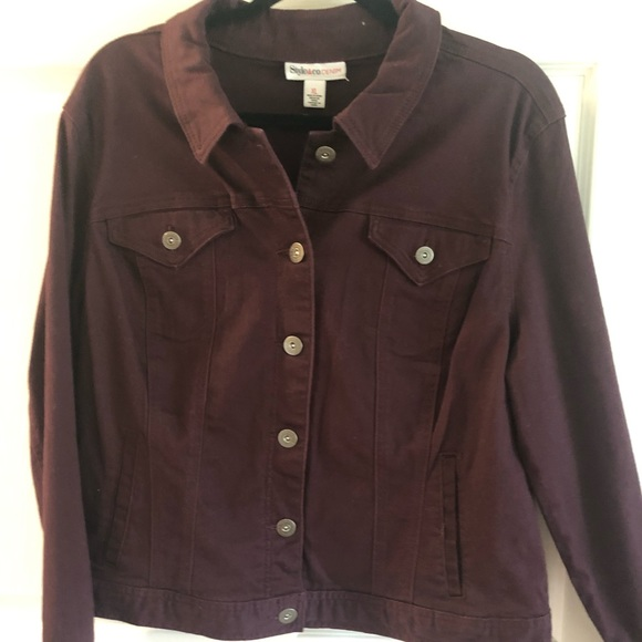 Style & Co Jackets & Blazers - Wine color brushed denim jacket NWT